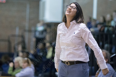 Platt's head coach Tina Gonyea reacts to a call Thursday at Platt High School in Meriden January 18, 2018 | Justin Weekes / Special to the Record-Journal
