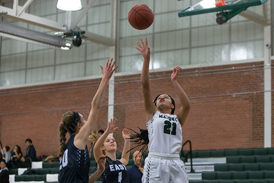 Maloney's Dasia White puts in a short jumper Friday at Maloney High School in Meriden January 12, 2018 | Justin Weekes / Special to the Record-Journal