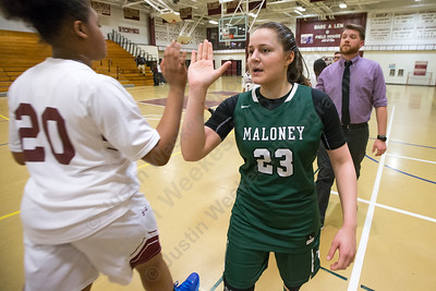 Maloney's Melanie Polanco Thursday at Bulkeley High School in Hartford January 25, 2018 | Justin Weekes / Special to the Record-Journal