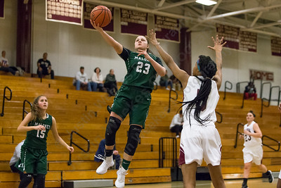 Maloney's Melanie Polanco puts in a layup Thursday at Bulkeley High School in Hartford January 25, 2018 | Justin Weekes / Special to the Record-Journal