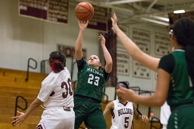 Maloney's Melanie Polanco hits a jumper in the lane Thursday at Bulkeley High School in Hartford January 25, 2018 | Justin Weekes / Special to the Record-Journal