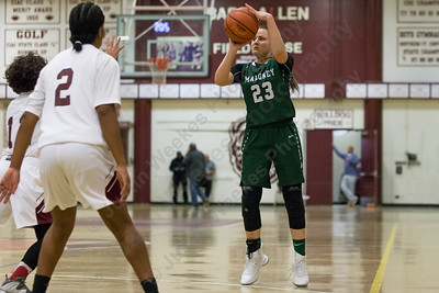 Maloney's Melanie Polanco hits a jumper for three points Thursday at Bulkeley High School in Hartford January 25, 2018 | Justin Weekes / Special to the Record-Journal