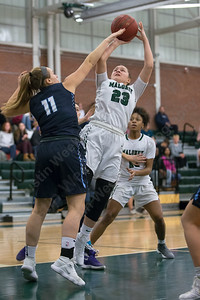 Maloney's Melanie Polanco puts up a shot in the lane Friday at Maloney High School in Meriden January 12, 2018 | Justin Weekes / Special to the Record-Journal