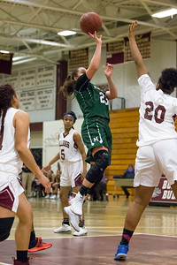 Maloney's Melanie Polanco hits a jumper in the lane to surpass the 1000 point mark Thursday at Bulkeley High School in Hartford January 25, 2018 | Justin Weekes / Special to the Record-Journal