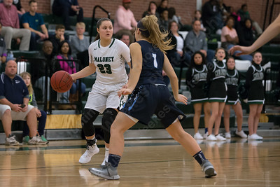 Maloney's Melanie Polanco sets up the offense Friday at Maloney High School in Meriden January 12, 2018 | Justin Weekes / Special to the Record-Journal