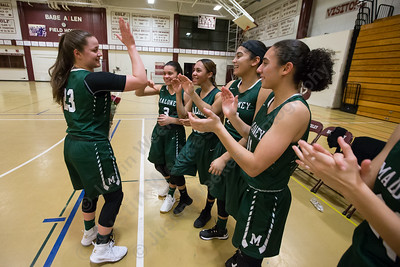 Maloney's Melanie Polanco gets congratulations from team members Thursday at Bulkeley High School in Hartford January 25, 2018 | Justin Weekes / Special to the Record-Journal