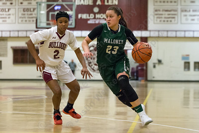 Maloney's Melanie Polanco drives to the basket Thursday at Bulkeley High School in Hartford January 25, 2018 | Justin Weekes / Special to the Record-Journal