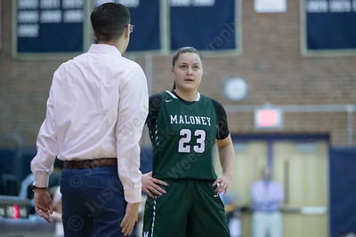 Maloney's Melanie Polanco  talks with head coach John Vieira Thursday at Platt High School in Meriden January 18, 2018 | Justin Weekes / Special to the Record-Journal