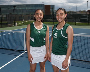 Wilcox Tech's Abby Lespier left and Haley Lespier Monday at Maloney High School in Meriden May 7, 2018 | Justin Weekes / Special to the Record-Journal