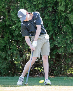 Maloney's Matthew Bahre on the first hole Tuesday at Hunter Golf Course in Meriden May 1, 2018 | Justin Weekes / Special to the Record-Journal