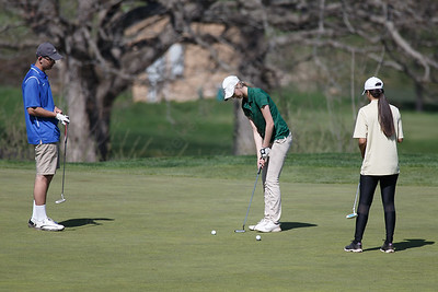 Maloney's Anna Billings putts on the first hole Tuesday at Hunter Golf Course in Meriden May 1, 2018 | Justin Weekes / Special to the Record-Journal