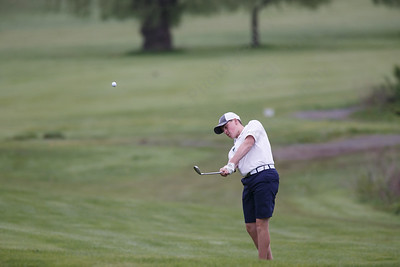 Maloney's Matthew Bahre plays his third shot on the tenth hole Wednesday at Hunter Golf Club in Meriden May 16, 2018 | Justin Weekes / Special to the Record-Journal