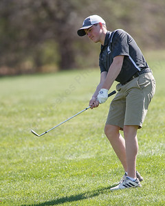 Maloney's Matthew Bahre chips onto the first green Tuesday at Hunter Golf Course in Meriden May 1, 2018 | Justin Weekes / Special to the Record-Journal