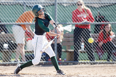 Maloney's Skyler Drost drives in a run with a double Monday at Dunn Sports Complex in Meriden April 23, 2018 | Justin Weekes / Special to the Record-Journal