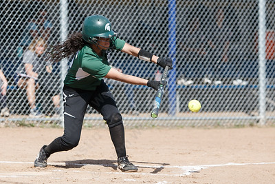 Maloney's Milytza Perez gets a bunt to fall in play Wednesday at Platt High School in Meriden May 2, 2018 | Justin Weekes / Special to the Record-Journal