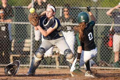 Maloney's Alexa Papallo scores as Platt's Alexandria Gill bobbles the throw Monday at Dunn Sports Complex in Meriden  May 21, 2018 | Justin Weekes / Special to the Record-Journal