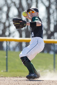 Maloney's Regan Maloney throws out a Manchester runner Monday at Dunn Sports Complex in Meriden April 23, 2018 | Justin Weekes / Special to the Record-Journal