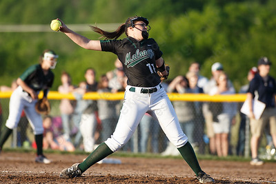 Maloney's Makenzie Meyer delivers a pitch Monday at Dunn Sports Complex in Meriden  May 21, 2018 | Justin Weekes / Special to the Record-Journal