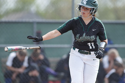 Maloney's Makenzie Meyer takes first base after being walked Thursday at Dunn Sports Complex in Meriden May 10, 2018 | Justin Weekes / Special to the Record-Journal