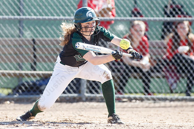Maloney's Anna Hendrickson gets a bunt to fall in play Monday at Dunn Sports Complex in Meriden April 23, 2018 | Justin Weekes / Special to the Record-Journal