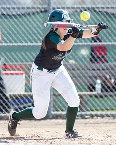 Maloney's Makenzie Meyer bunts to drive in Alexa Papallo Monday at Dunn Sports Complex in Meriden April 23, 2018 | Justin Weekes / Special to the Record-Journal