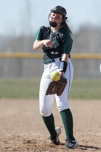 Maloney's Makenzie Meyer delivers a pitch Monday at Dunn Sports Complex in Meriden April 23, 2018 | Justin Weekes / Special to the Record-Journal