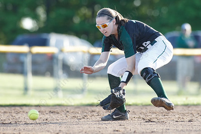 Maloney's Regan Maloney fields a ground ball Monday at Dunn Sports Complex in Meriden  May 21, 2018 | Justin Weekes / Special to the Record-Journal