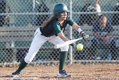 Maloney's Alexa Papallo gets a but in play Monday at Dunn Sports Complex in Meriden  May 21, 2018 | Justin Weekes / Special to the Record-Journal