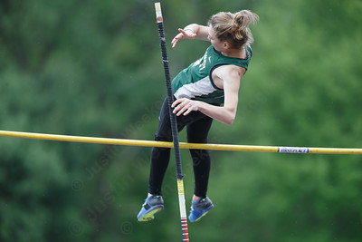 Maloney's Hannah Cloutier in the pole vault Wednesday at Platt High School in Meriden May 16, 2018 | Justin Weekes / Special to the Record-Journal