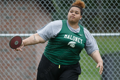Maloney's Imaani Felton in the discus Wednesday at Platt High School in Meriden May 16, 2018 | Justin Weekes / Special to the Record-Journal
