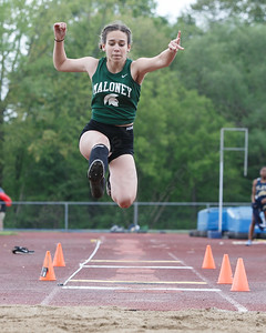 Maloney's Sophia Anetrella in the long jump Wednesday at Platt High School in Meriden May 16, 2018 | Justin Weekes / Special to the Record-Journal