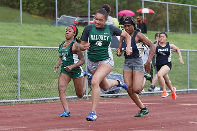 Maloney's Dasia White takes the 100m Wednesday at Platt High School in Meriden May 16, 2018 | Justin Weekes / Special to the Record-Journal