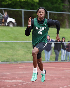 Maloney's Dhamani Johnson in the 400 Wednesday at Platt High School in Meriden May 16, 2018 | Justin Weekes / Special to the Record-Journal