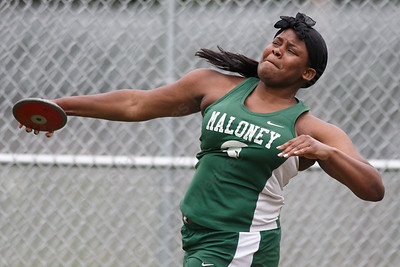 Maloney's Shanice Smith in the discus Wednesday at Platt High School in Meriden May 16, 2018 | Justin Weekes / Special to the Record-Journal