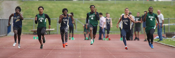 The boys 100m dash Wednesday at Platt High School in Meriden May 16, 2018 | Justin Weekes / Special to the Record-Journal