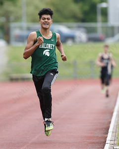 Maloney's Reynaldo Torres takes the 800 Wednesday at Platt High School in Meriden May 16, 2018 | Justin Weekes / Special to the Record-Journal