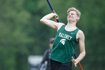 Maloney's Adam Williams in the javelin Wednesday at Platt High School in Meriden May 16, 2018 | Justin Weekes / Special to the Record-Journal