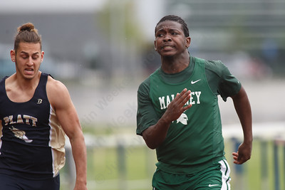 Maloney's Lamar Thaxter takes the 100m dash Wednesday at Platt High School in Meriden May 16, 2018 | Justin Weekes / Special to the Record-Journal