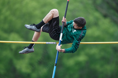 Maloney's Dominic Oliveri in the pole vault Wednesday at Platt High School in Meriden May 16, 2018 | Justin Weekes / Special to the Record-Journal