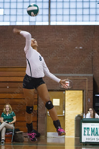 Maloney's Gabby Grahan (8) lines up a spike attempt Monday at Maloney High School in Meriden  September,15 2014 | Justin Weekes / For the Record-Journal