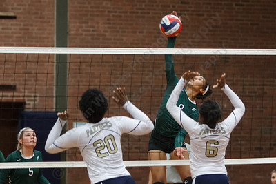Maloney's Gabby Graham (9) powers one past Platt's Nakaja Mills (20) and Daelyn Marrow (6) Monday at Platt High School in Meriden September,29 2014 | Justin Weekes / For the Record-Journal