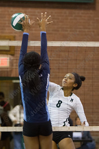 Maloney's Gabby Graham (8) get one past Middletown's Kierah Parker (8) Monday at Maloney High School in Meriden  September,15 2014 | Justin Weekes / For the Record-Journal