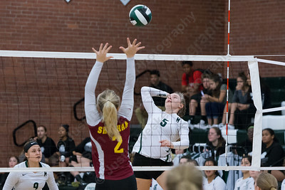 Maloney's Anna Hendrickson sets up for a kill Wednesday at Maloney High School in Meriden October 11, 2017 | Justin Weekes / For the Record-Journal