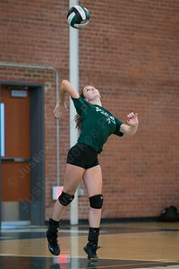 Maloney's Carly Massicotte serves Wednesday during a scrimmage with Hale Ray at Maloney High School in Meriden Aug. 30, 2017 | Justin Weekes / For the Record-Journal