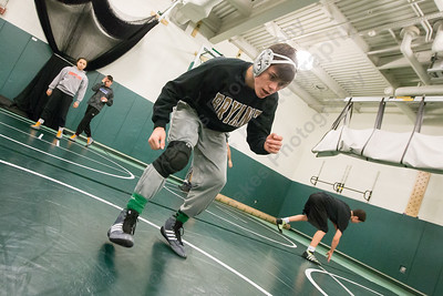 Maloney's Demetre Carnot works out during practice Tuesday at Maloney High School in Meriden Jan. 24, 2017   Justin Weekes / For the Record-Journal