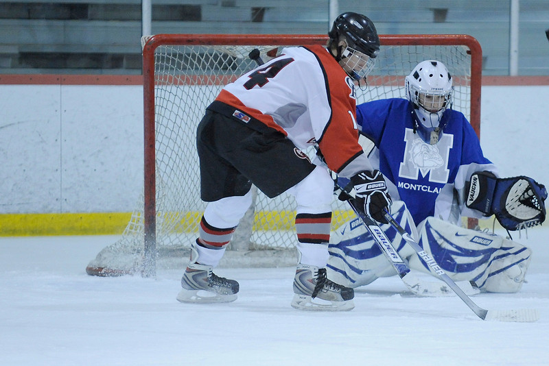 Glen Rock's Peter Cuviello (14) taking a shot at the Montclair goal.<br /> PHOTO: KELLY BIRDSEYE