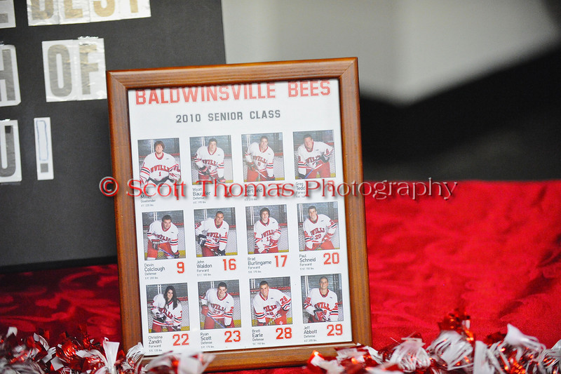 Senior Night decorations for the Baldwinsville Varsity Ice Hockey team before the game against Ithaca on Friday, February 5, 2010.