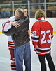Ryan Scott being congratulated at Senior Night for the Baldwinsville Varsity Ice Hockey team before the game against Ithaca on Friday, February 5, 2010.