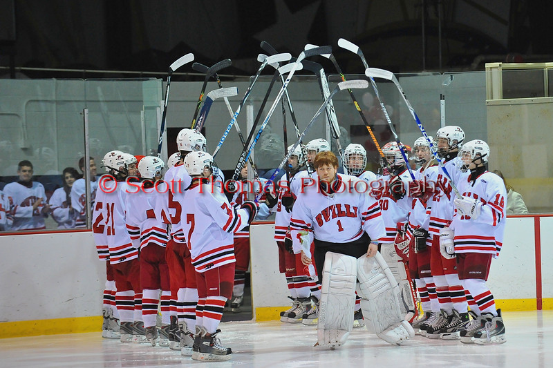 Mark Miller being introduced at Senior Night for the Baldwinsville Varsity Ice Hockey team before the game against Ithaca on Friday, February 5, 2010.