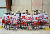 Coach Lloyd huddles up the Bees before the start of the second period against the Clarance Red Devils in the Robert T. Conklin Memorial Tournament finals at the Greater Baldwinsville Ice Arena on Saturday, December  11, 2010.  Baldwinsville won 5 to 1.